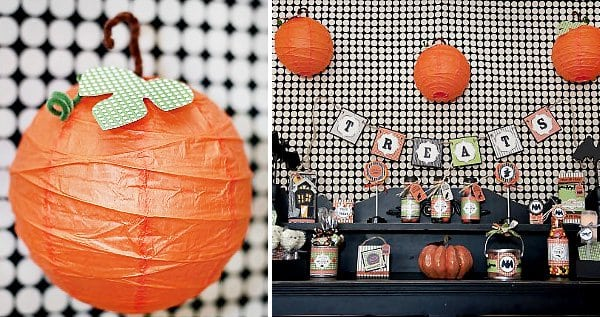 Halloween Craft Project Pumpkin Lantern and banner Ideas