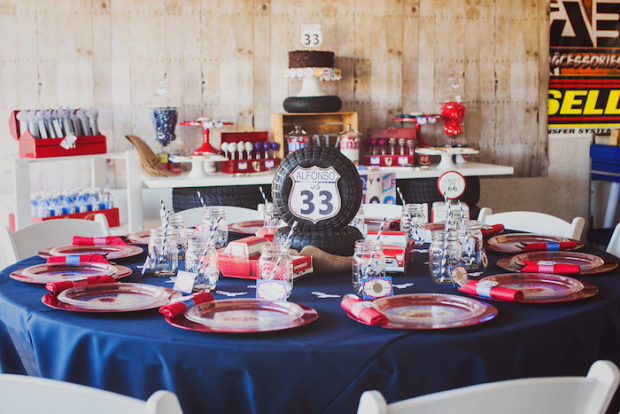 Vintage Car Themed BIrthday Party Table Ideas