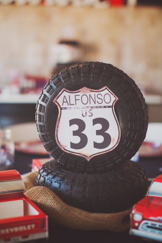 Vintage Car Themed BIrthday Party Table Centerpieces