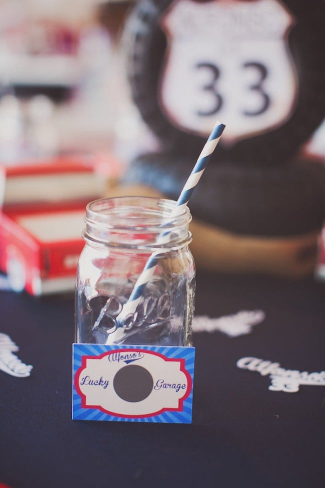 Vintage Car Themed Birthday Party Drink Cup Ideas