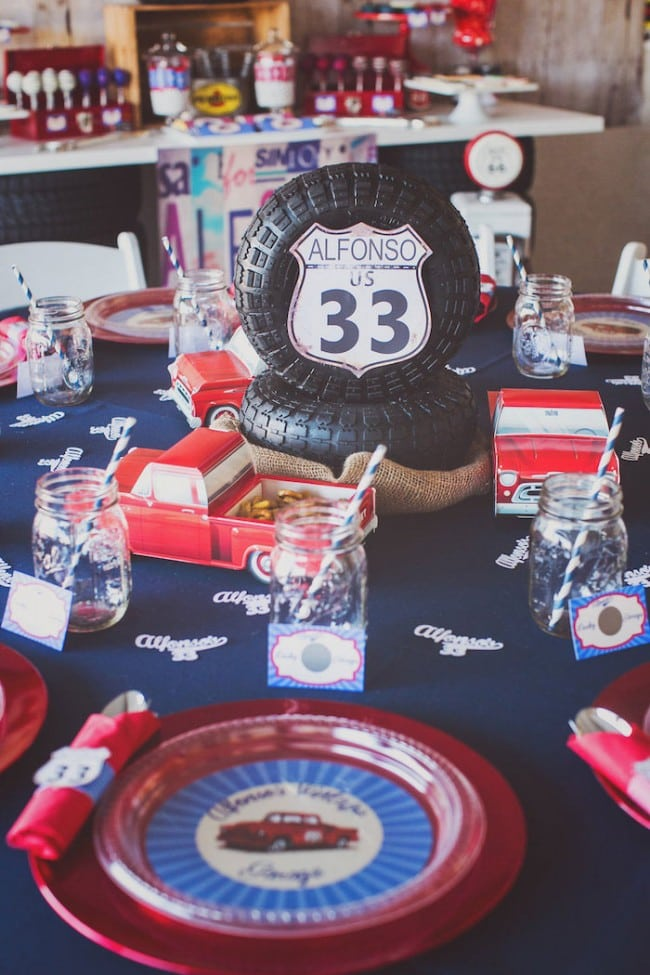 Vintage truck birthday party spaceships and laser beams