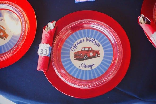 Vintage Car Themed Birthday Party Plate Ideas