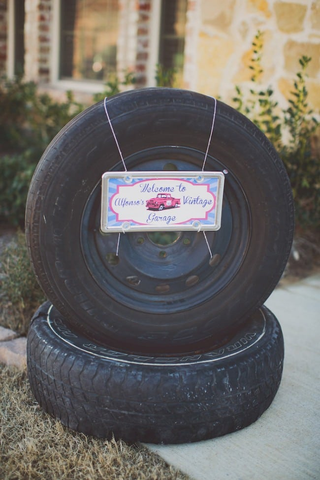 Vintage Car Themed Birthday party Welcome Sign