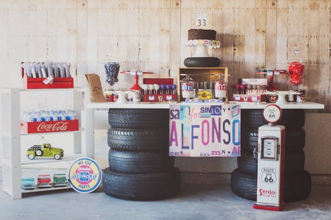 Vintage Car Themed Party Dessert Table Ideas