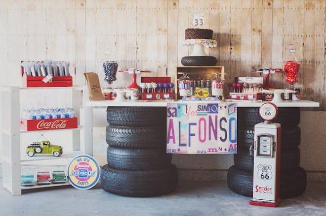 Vintage Car Themed Party Dessert Table Ideas