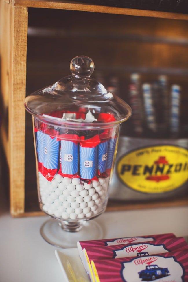 Vintage Themed Car Birthday Party Candy Bar Ideas