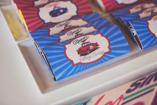 Vintage Themed Car Birthday Party Candy ideas