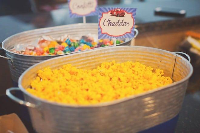 Vintage Themed Car Birthday Party Food Popcorn Bar Ideas