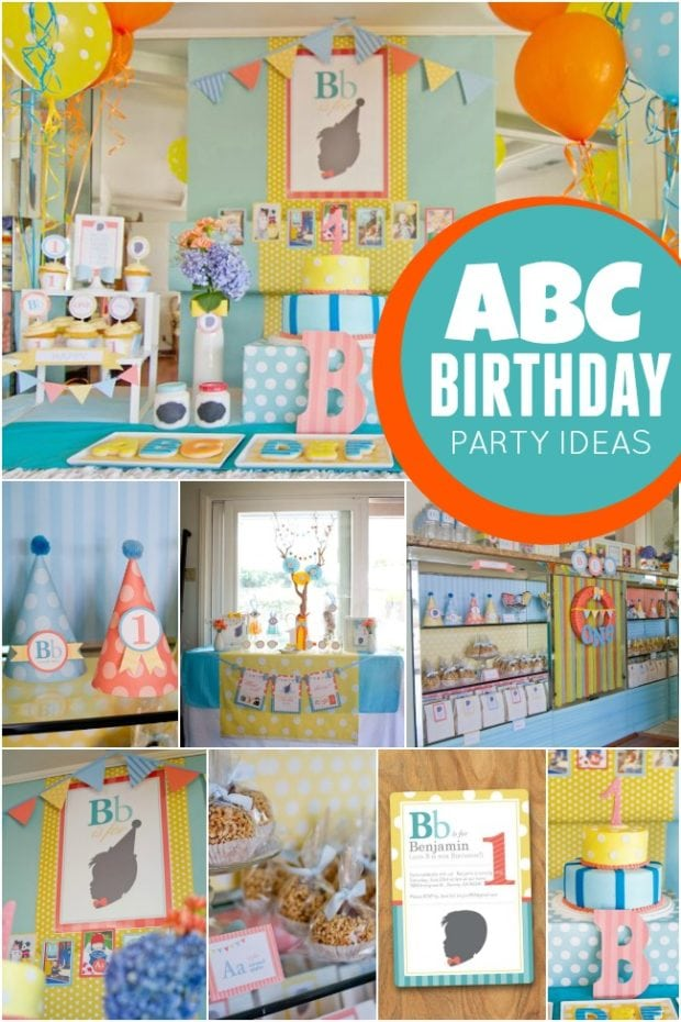 Abc themed 1st birthday party spaceships and laser beams for Baby boy 1st birthday decoration ideas
