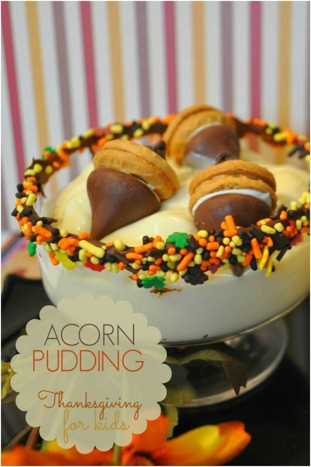 Fall Acorn Pudding Thanksgiving Ideas For Kids