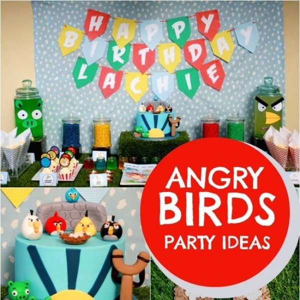 Angry birds and happy birthday boys spaceships and laser for Angry birds birthday party decoration ideas