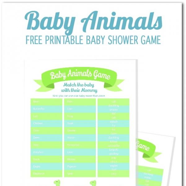 Free Online Printable Baby Shower Games: Freebie Friday: Baby Animal Name Game
