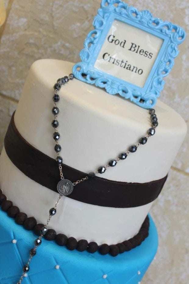 Baby boy baptism reception christening spaceships and for Baby boy cake decoration ideas