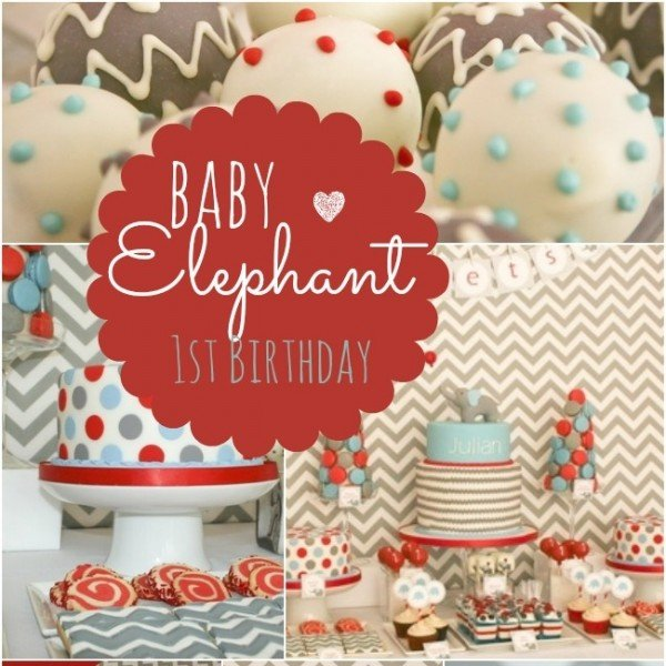 Baby Elephant Themed First Birthday Party