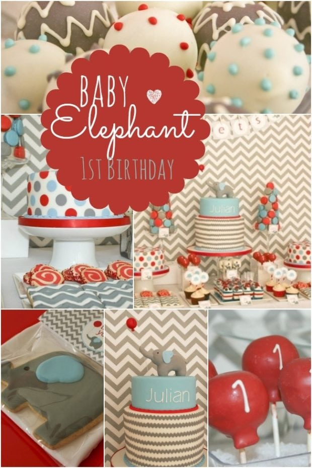 Baby elephant themed first birthday party spaceships and for Baby boy 1st birthday decoration ideas