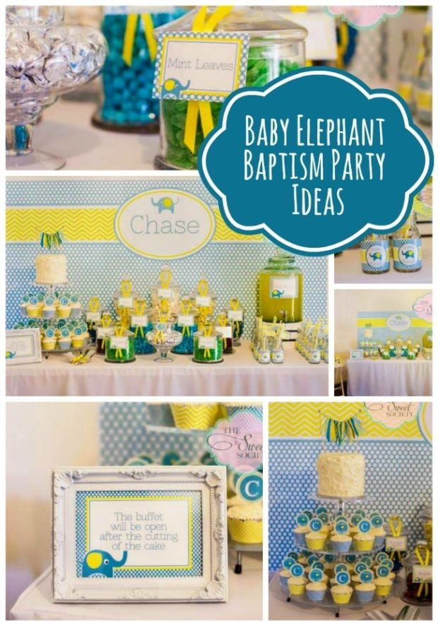 Elephant Themed Baptism Party For A Baby Boy Spaceships