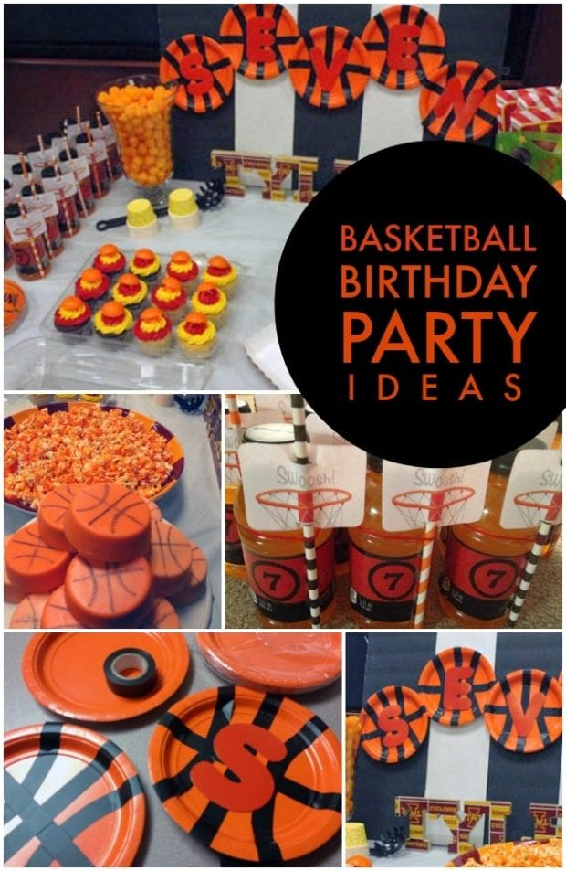 A bunch of food on a table, with Party and Basketball