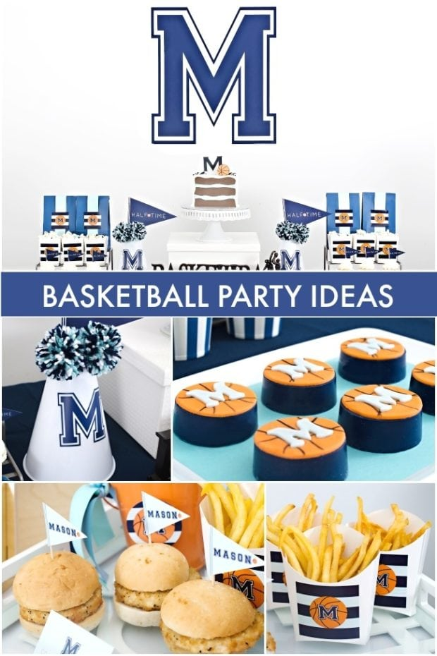 A close up of food, with Basketball and Party
