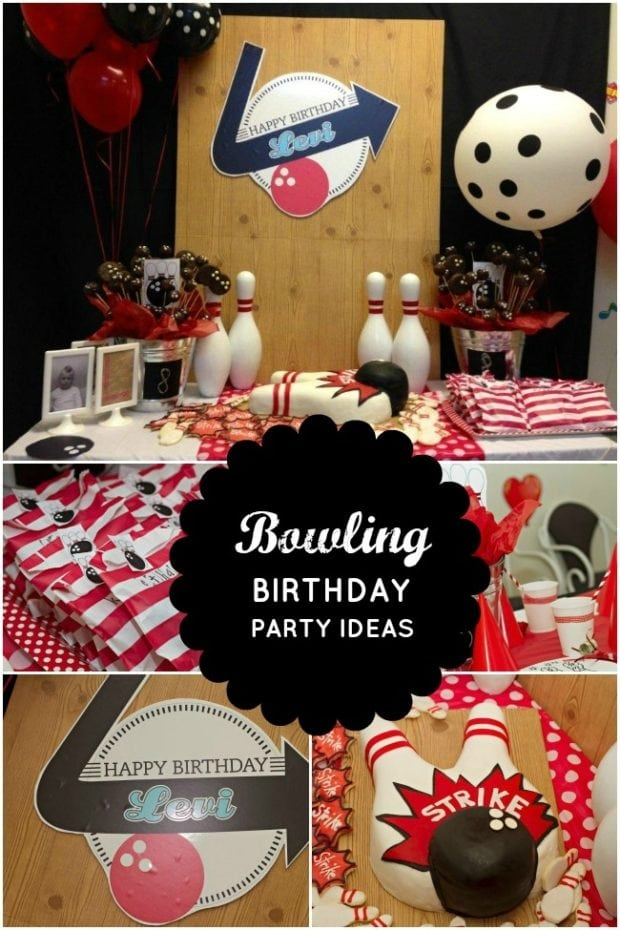 Boy 39 s bowling themed 8th birthday spaceships and laser beams - Themes for a th birthday party ...