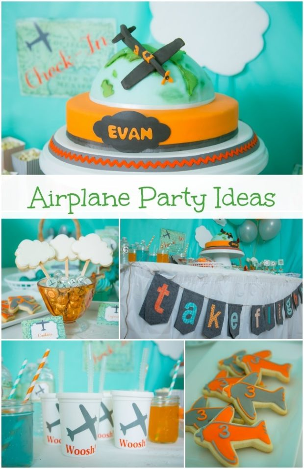 Flying high with an airplane birthday party spaceships for Airplane party decoration