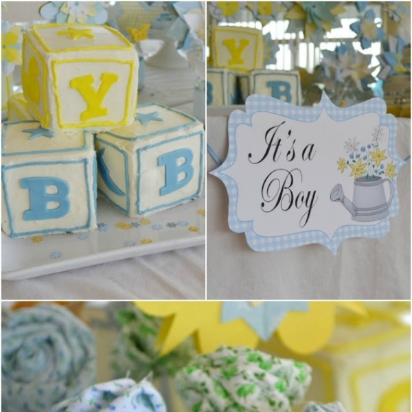 country garden themed boys baby shower spaceships and laser beams