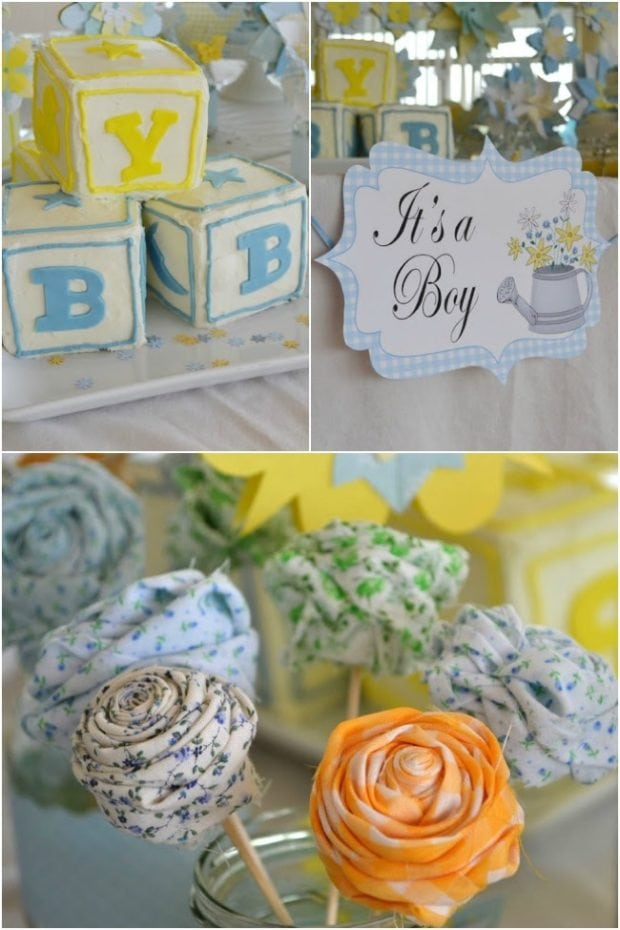 Country garden themed boys baby shower spaceships and for Baby shower at home decorations
