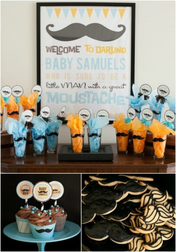 Boy baby shower ideas mustache theme spaceships and for Baby boy decoration