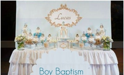 Boy Baptism Party In Blue White And Gold Spaceships And