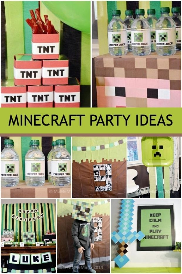 A minecraft boy birthday party spaceships and laser beams for Decoration ideas 7th birthday party