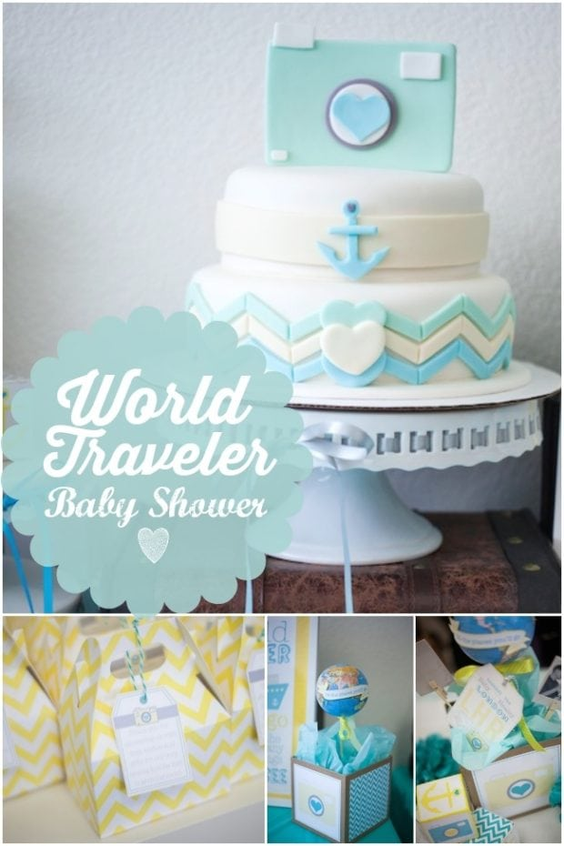 modern world traveler themed boy baby shower spaceships and laser