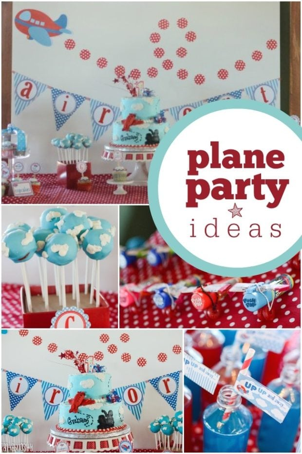 High flying airplane themed boy s first birthday party for Airplane party decoration ideas