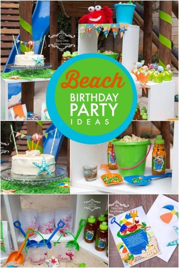 A Boy S Beach Themed 3rd Birthday Party Spaceships And Laser Beams