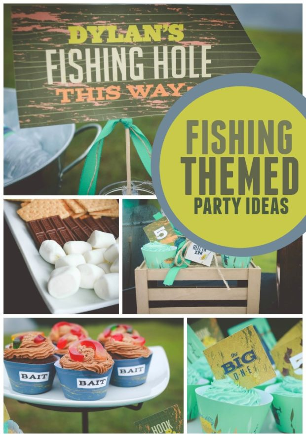 A reel y fun boy s fishing birthday party spaceships and for Fishing themed party supplies