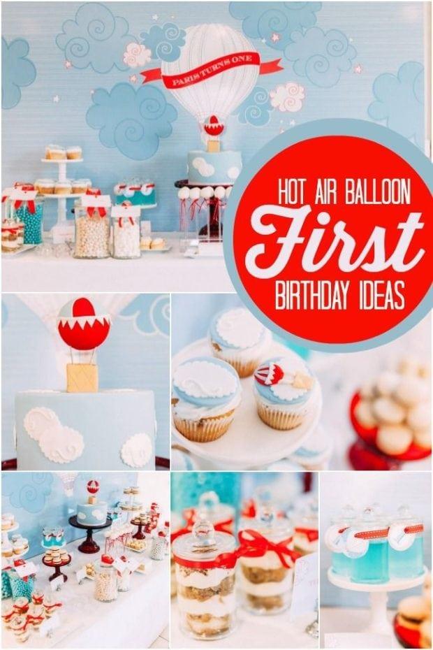 Boys Hot Air Balloon First Birthday Party Ideas1