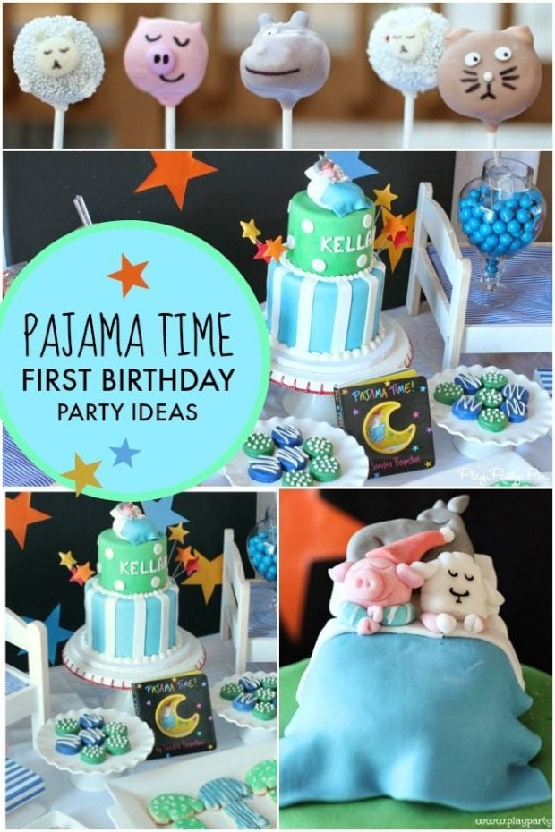 A Pajama Time Boy S 1st Birthday Party Spaceships And Laser Beams