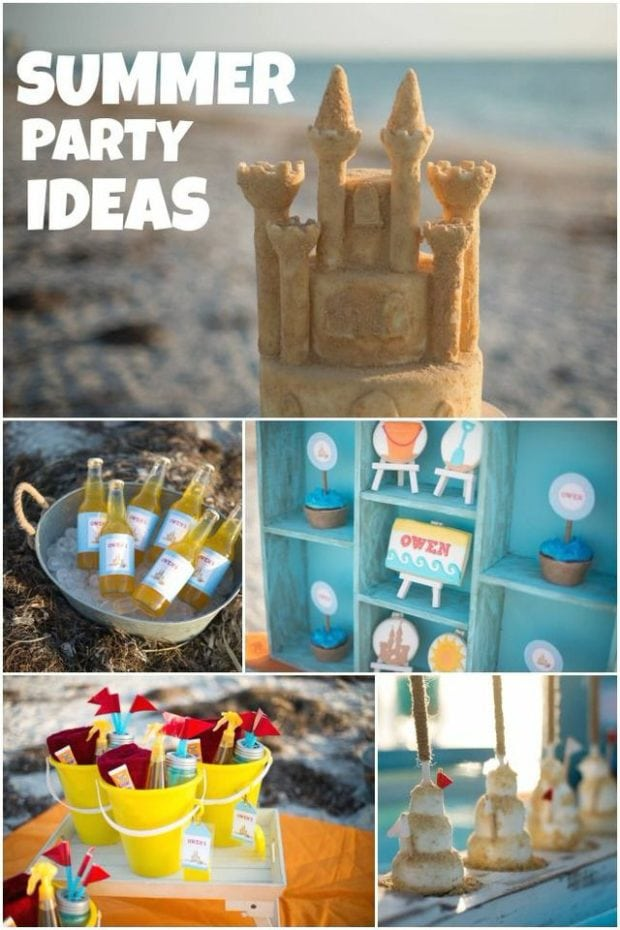A Boy S Sandcastle Building Birthday Party Spaceships