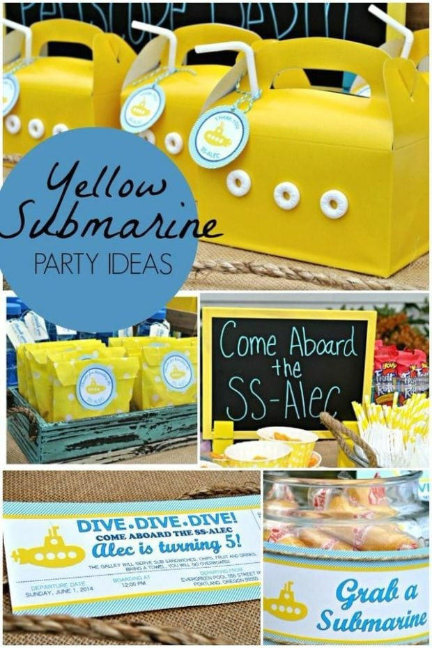Classroom Birthday Party Games ~ A yellow submarine boy s birthday party spaceships and
