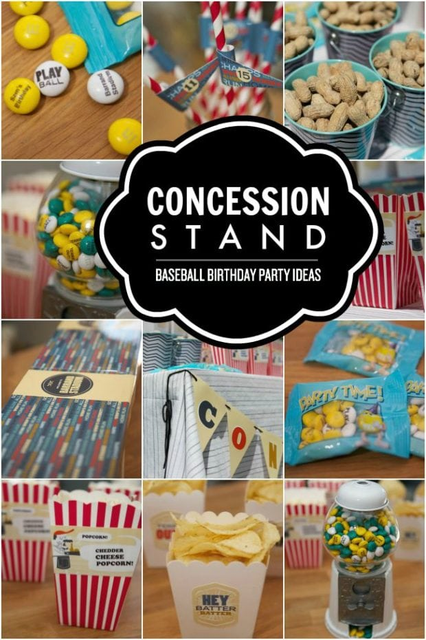Baseball Birthday Party Concession Stand Spaceships And