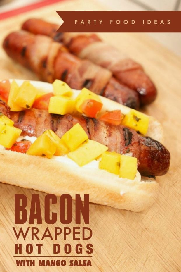 Bacon Wrapped Hot Dogs With Mango Salsa Spaceships And