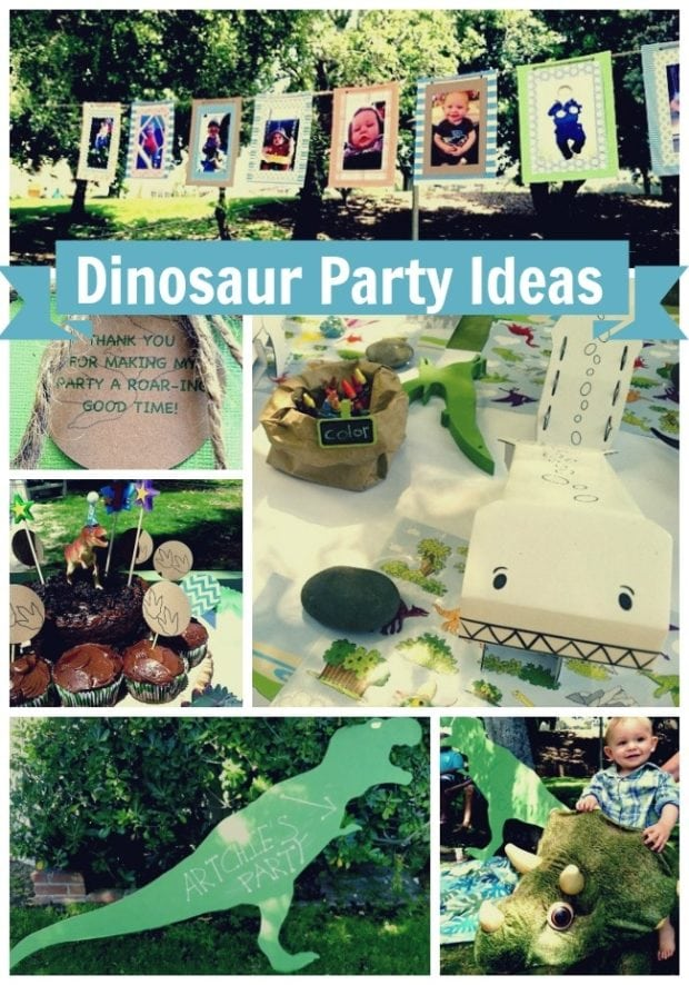 Boy S Dinosaur First Birthday Party Spaceships And Laser
