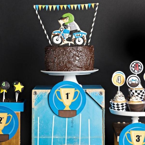 boy bash  dirt bike birthday dessert table