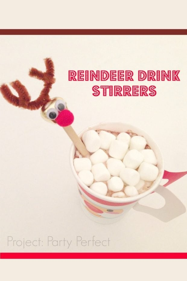 Dollar Store Christmas Craft Reindeer Drink Stirrers