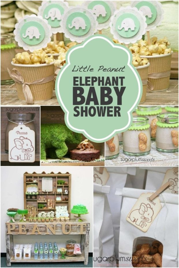 peanut elephant themed safari baby shower party theme unique baby