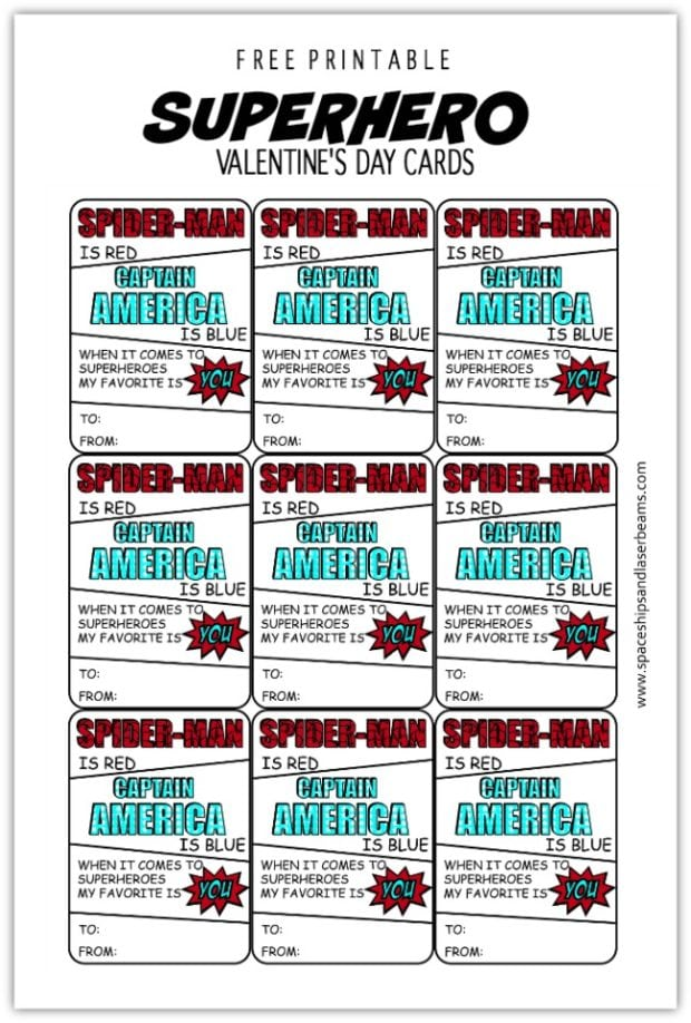 Freebie Friday Free Printable Superhero Valentines Day
