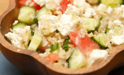 Greek Salad with Rice Bowl Recipe