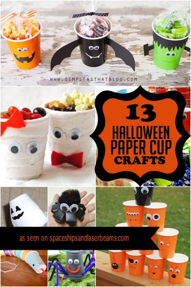 13 halloween paper cup crafts spaceships and laser beams halloween party crafts for kids - Halloween Birthday Ideas
