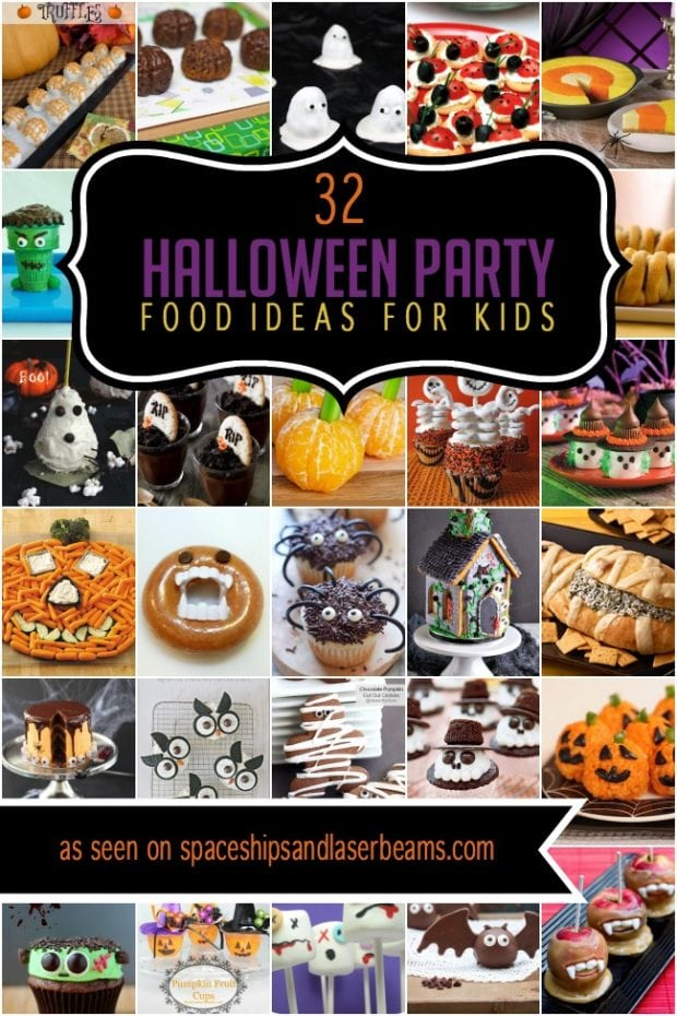 A bunch of different types of food, with Party and Halloween