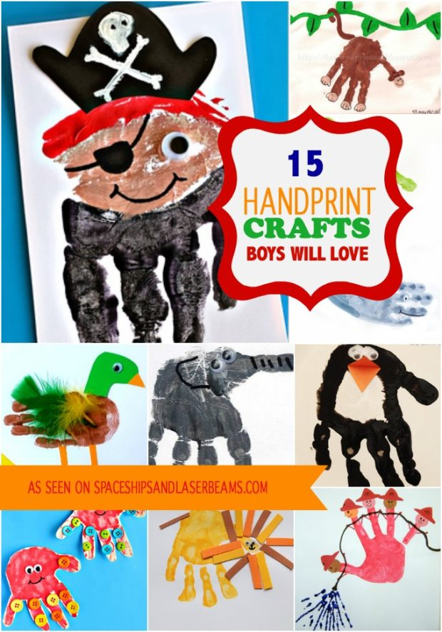 15 Handprint Crafts Boys Will Love Spaceships And Laser Beams