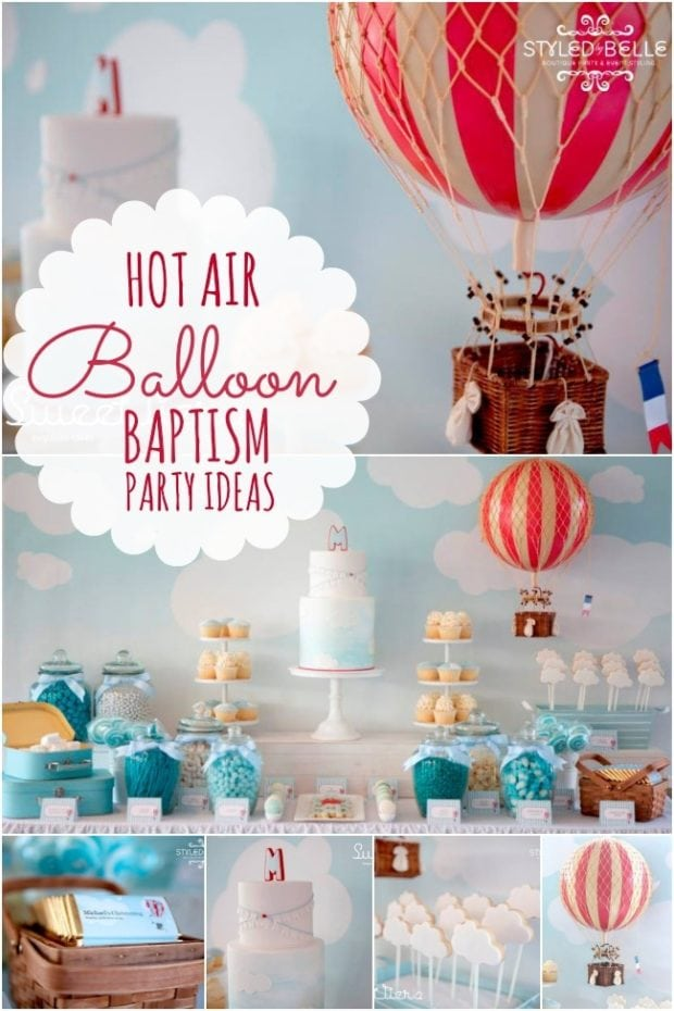 an elegant boy s hot air balloon christening party