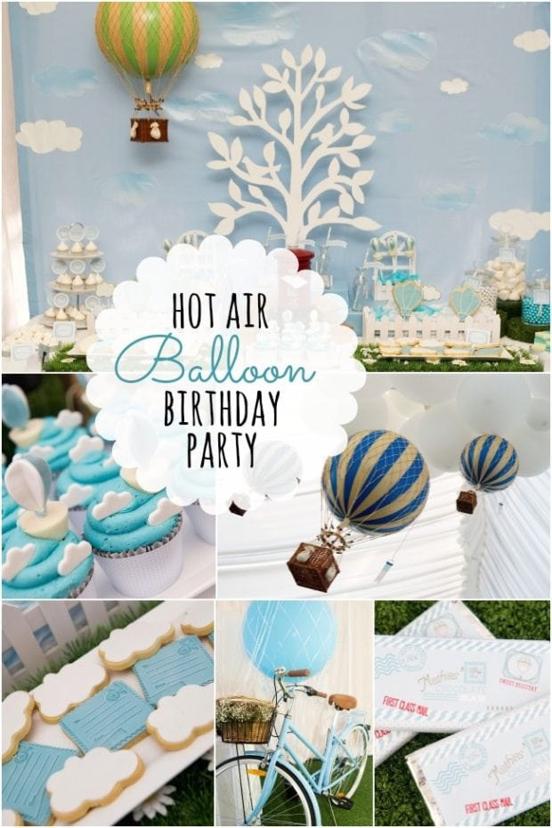 Boy 39 s hot air balloon birthday party spaceships and for Balloon decoration ideas for 1st birthday party